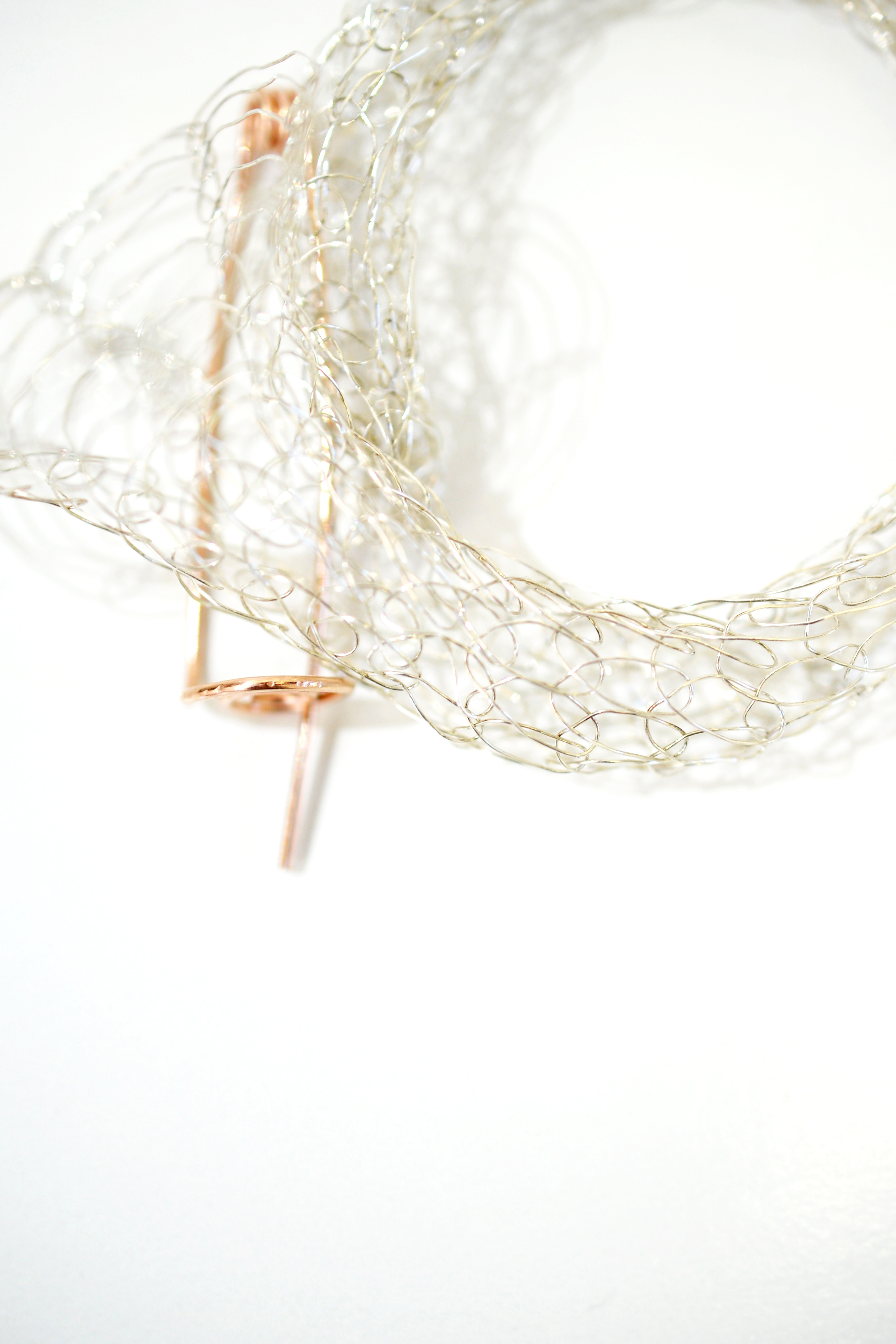 French Knitted Bangle with Gold Pin 4
