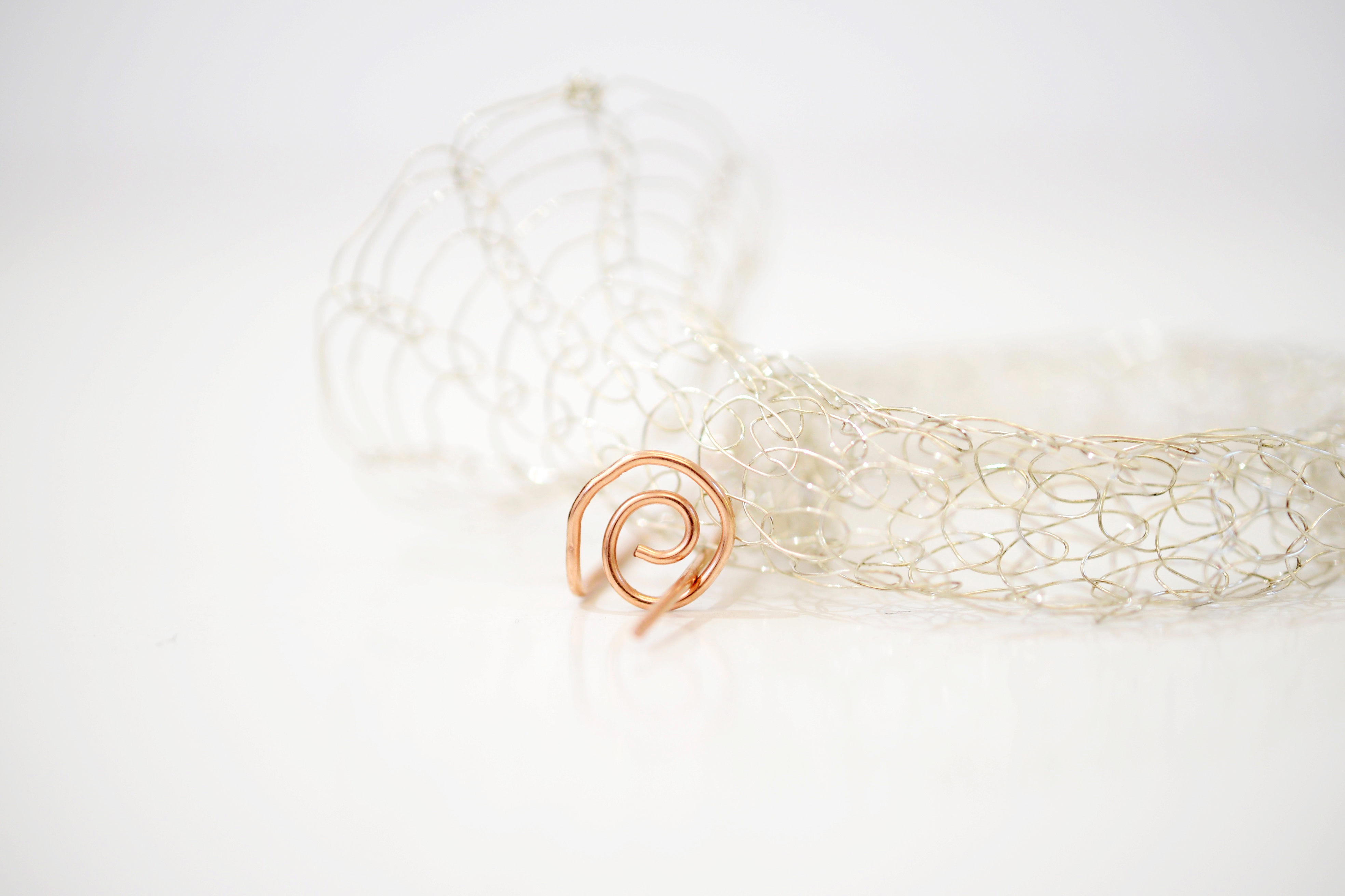 French Knitted Bangle with Gold Pin 5