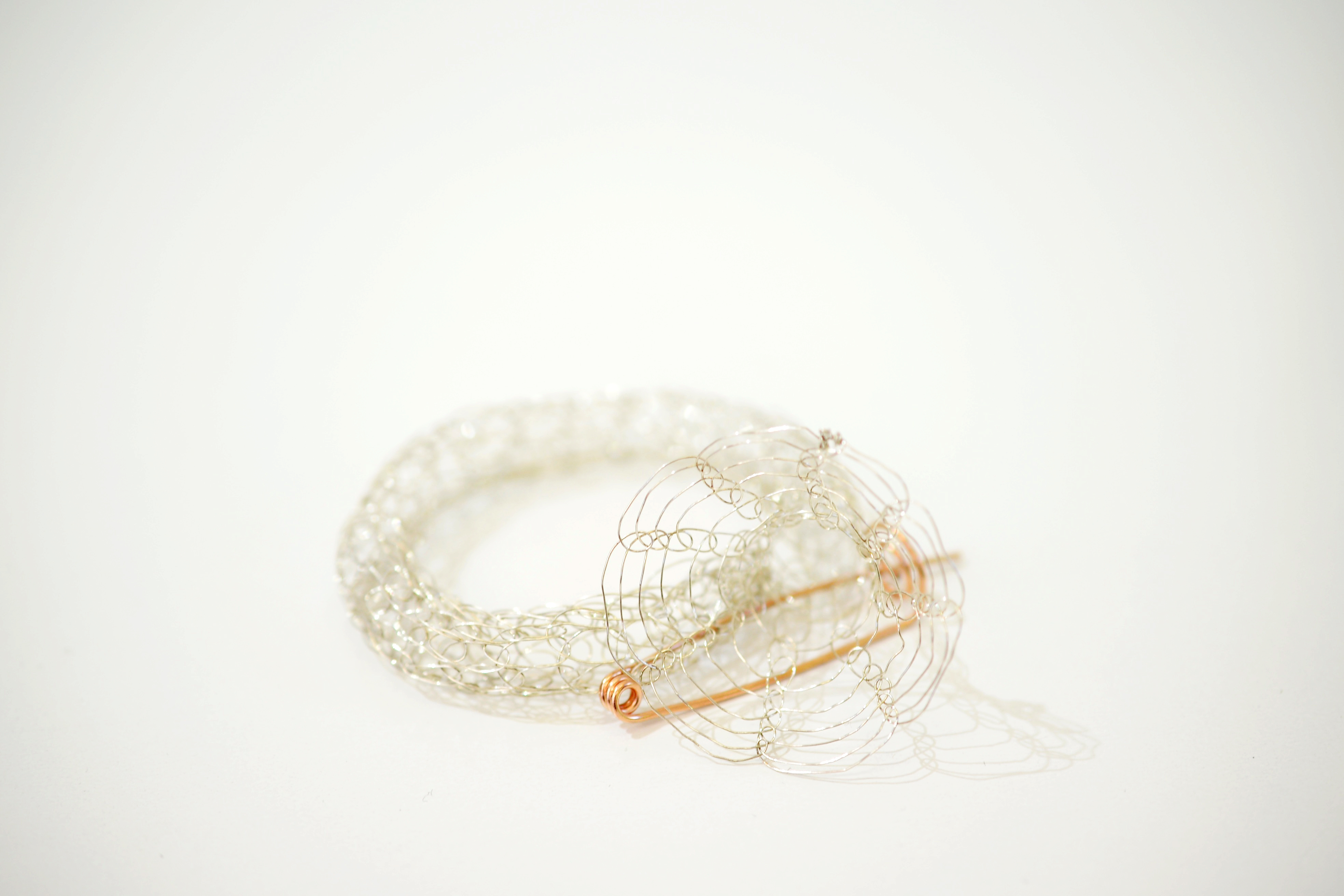 French Knitted Bangle with Gold Pin 6