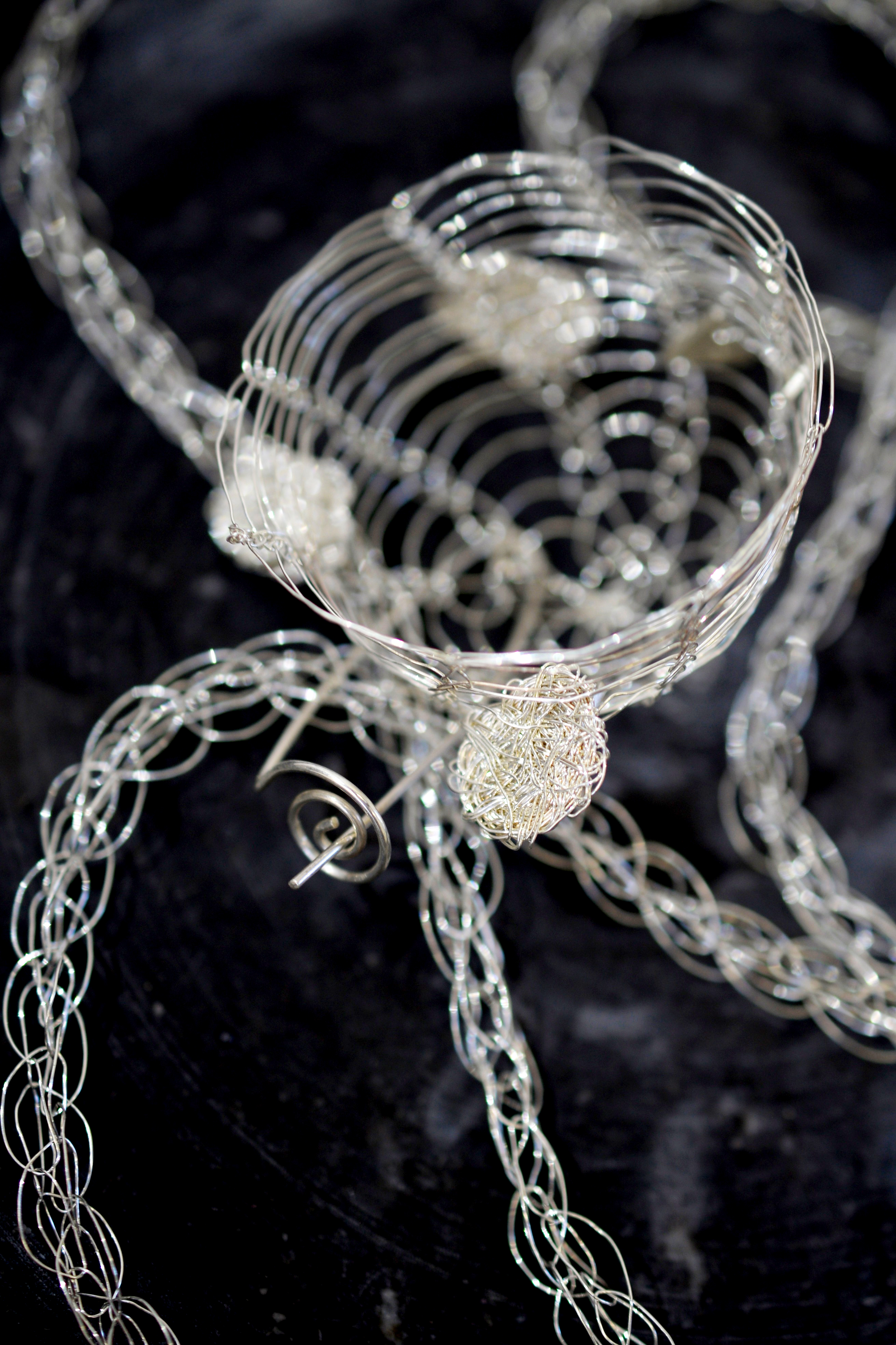 French Knitted Necklace with Basket Closeup