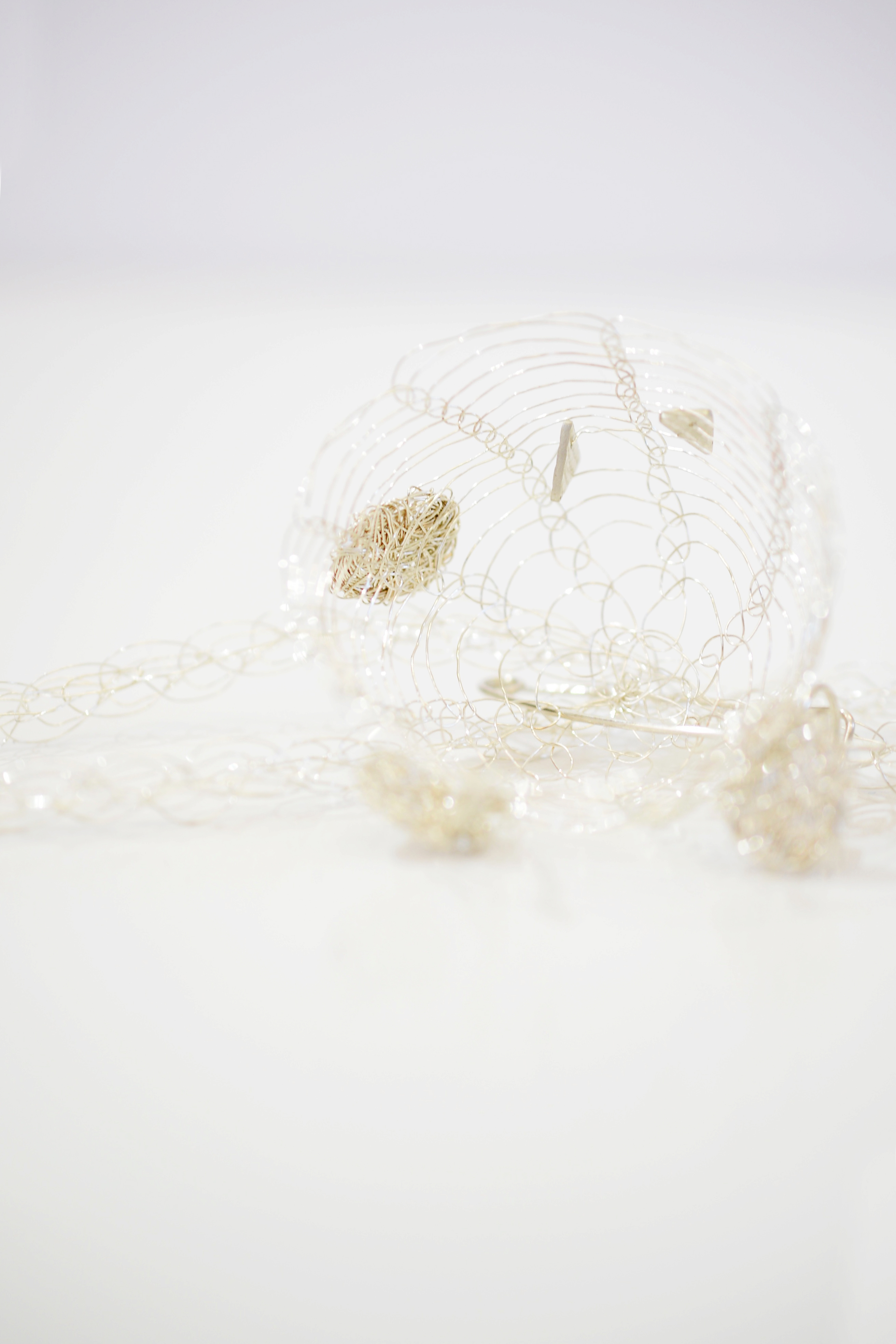 French Knitted Necklace with Basket Closeup 2