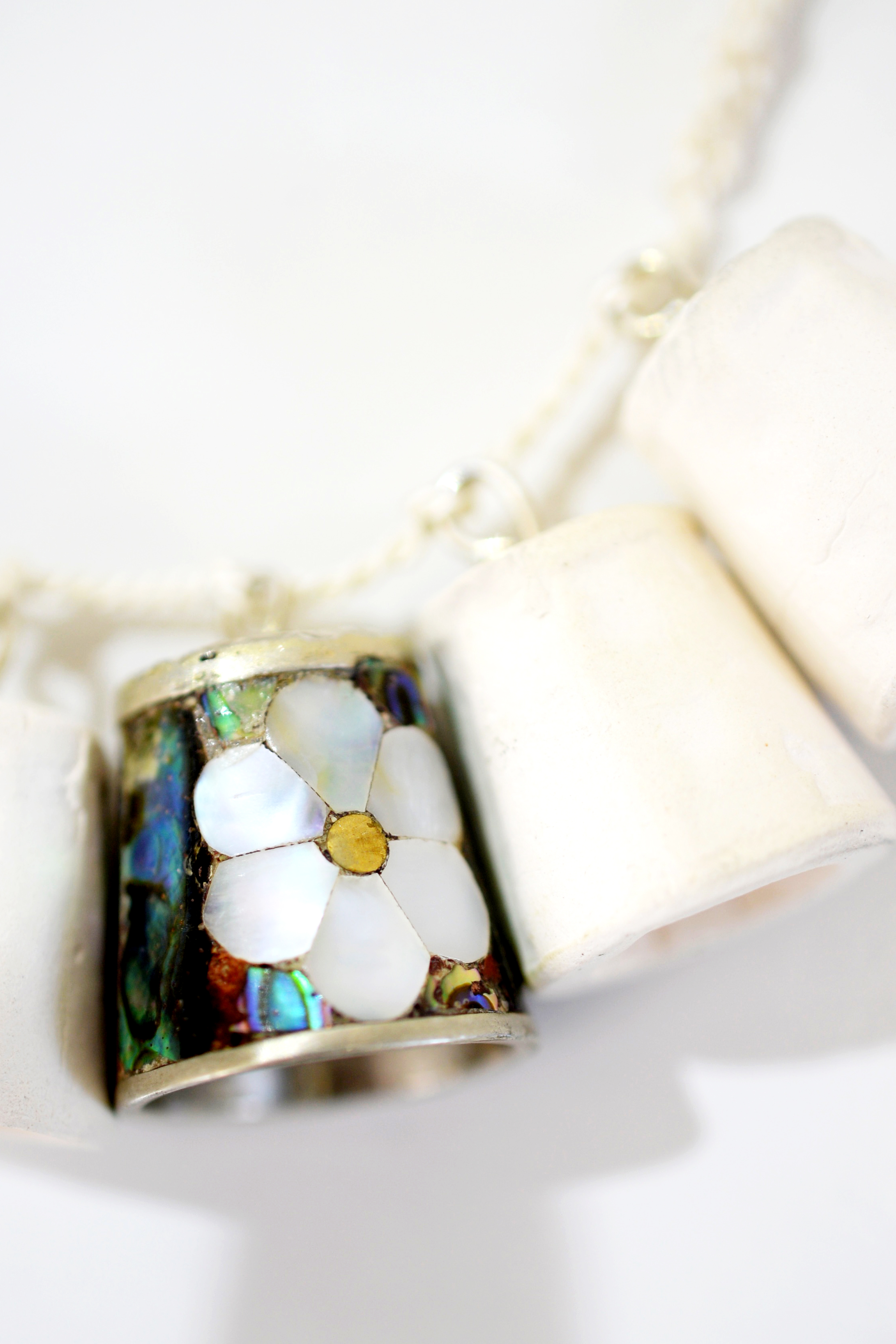 Mother of Pearl Thimble Necklace Closeup