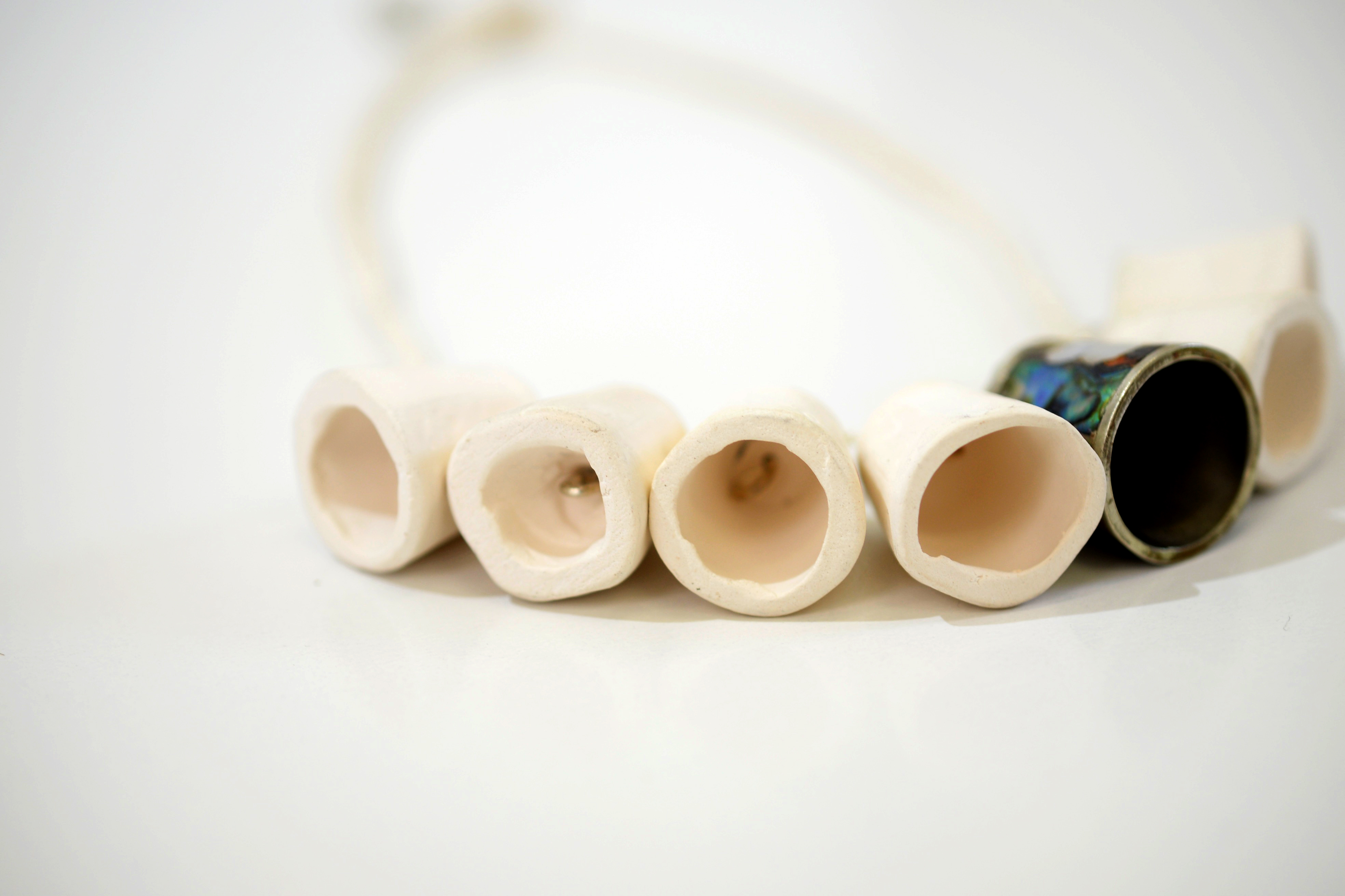 Mother of Pearl Thimble Necklace Closeup 3