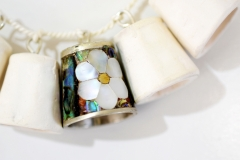 Mother of Pearl Thimble Necklace Closeup 2