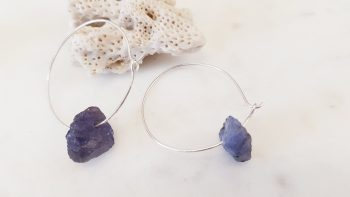 'Marks & Lines' Hoops with Raw Tanzanite